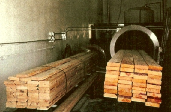 Lumber in cylinder